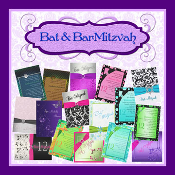 Bar and Bat Mitzvahs invitations and invitation sets