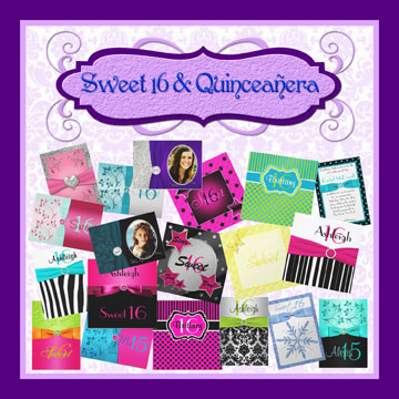 sweet 16's and Quinceanera invitations and invitation sets
