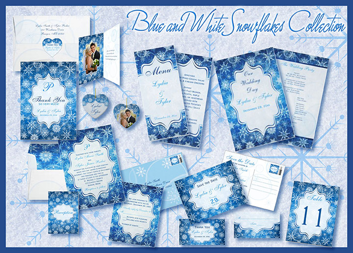 Blue White Snow Collage