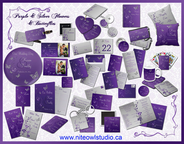 Purple & Silver Flowers & Butterflies Wedding Collection